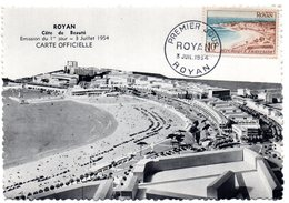 CARTE MAXIMUM FRANCE 1954 / 17 ROYAN  = CACHET FDC PREMIER JOUR N° 978 ROYAN - Maximumkarten