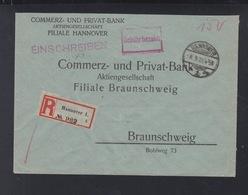 Dt. Reich R-Brief 1923 Hannover Nach Braunschweig - Briefe U. Dokumente