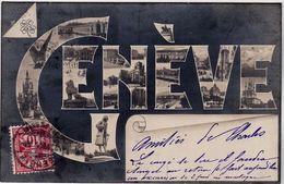 Schweiz Suisse 1904: PANORAMA DE GENÈVE  Avec O GENÈVE 28.VI.04 Pour Paris - Silhouettes