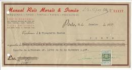 Receipt * Portugal * 1937 * Porto * Manuel Reis Morais & Irmão * Holed - Portugal
