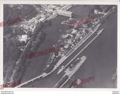 Fixe Basse Seine écluse Barrage Péniche Prise Vue 18 Juillet 1951 Photo Aérienne Aérotopographie Bougival Marly - Bateaux