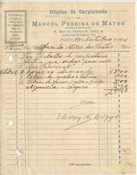 Invoice * Portugal * 1934 * Porto * Oficina De Carpinteria * Manoel Pereira De Matos * Holed - Portugal