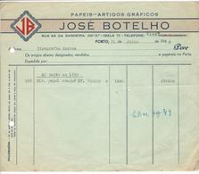 Invoice * Portugal * 1948 * Porto * José Botelho * Papeis-Artigos Gráficos * Holed - Portugal