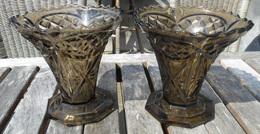 Style Art Déco ANTIQUE PAIRE De VASES Semi-cristal Moulé Noir Début 20eme Siècle Vase ANTIEK STEL VAZEN Vaas Ancien Z495 - Verre & Cristal