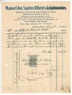 Invoice * Portugal * 1934 * Porto * Manoel Dos Santos Ribeiro * Mestre Estucador E Pintor * Holed - Portugal