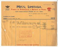 Invoice * Portugal * 1941 * Lisboa * Meco, Limitada * Fábrica De Sobrescritos E Depósito De Papéis  * Holed - Portugal