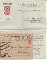 """1932 - ENVELOPPE + FACTURE PUB DECOREE """"SINGER"""" - Marcophilie (Lettres)"""