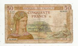 Billet , 50 Francs , 50 , CERES , 2-2-1939 , 2 Scans - 1871-1952 Gedurende De XXste In Omloop