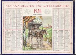 ALMANACH DES POSTES ET DES TELEGRAPHES / CALENDRIER DE 1938 / DEPART AU MARCHE ( Calèche Et Chien ) / Dép. SEINE & OISE - Calendars