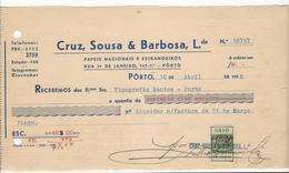 Receipt * Portugal * 1938 * Porto * Cruz, Sousa & Barbosa, Lda. * Papeis Nacionais E Estrangeiros * Holed - Portugal