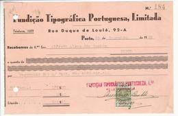 Receipt * Portugal * 1939 * Porto * Fundição Tipográfica Portuguesa, Limitada * Holed - Portugal