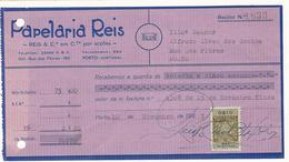 Receipt * Portugal * 1947 * Porto * Papelaria Reis * Holed - Portugal
