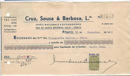 Receipt * Portugal * 1942 * Porto * Cruz, Sousa & Barbosa, Lda * Holed - Portugal