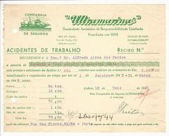 Receipt * Portugal * 1943 * Lisboa * Companhia De Seguros ''Ultramarina'' * Holed - Portugal