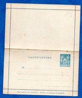 Carte Lettre  -  15 Centimes Bleu  -- Vierge - Postal Stamped Stationery