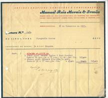 Invoice * Portugal * 1933 * Porto * Manuel Reis Morais & Irmão * Holed - Portugal