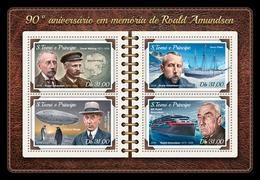 S. TOME & PRINCIPE 2018 - R. Amundsen, Penguins. Official Issue - Pinguïns & Vetganzen