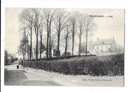 Trazegnies  ( M 4104 )  Vue Sur L'église Et Maison (voir Dos Cachet Censure Et Timbre Allemande) - Courcelles