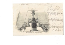 """Cpa - Bateau - Marine De Guerre - Mat D'arrière Du Dupuy De Lome - 1899 - Poème """"Souvenir De L'Océan"""" - Guerre"""