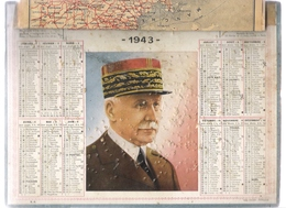 ALMANACH DES POSTES ET DES TELEGRAPHES / CALENDRIER DOUBLE DE 1943 + 1944 ( Maréchal PETAIN + Bébé Au Jardin ) - Big : 1941-60