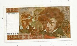 Billet , Dix Francs , 10 , BERLIOZ , 5-1-1976 , 2 Scans - 1962-1997 ''Francs''