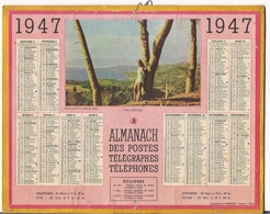 ALMANACH DES POSTES ET DES TELEGRAPHES / CALENDRIER DE 1947 / VACANCES  - Photo Couleur Du Docteur F. NICOLAS , Paris ) - Big : 1941-60