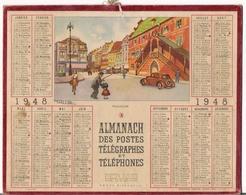 ALMANACH DES POSTES ET DES TELEGRAPHES / CALENDRIER DE 1948 / MULHOUSE / Département SEINE + PLAN DE METRO - Grand Format : 1941-60