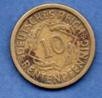 Allemagne  -  10 Rentenpfennig 1924 J-  Km # 40  - état TTB - - 10 Rentenpfennig & 10 Reichspfennig
