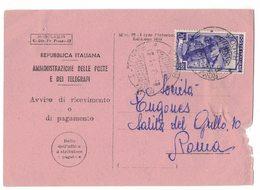 QS98   ROMA 06.3.1951 / Città - Avviso Di Ricevimento - Italia Al Lavoro Lire 20 Isolato - 6. 1946-.. Repubblica