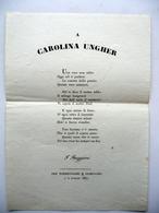 Foglio Volante A Carolina Ungher Torreggiani Reggio 1837 Contralto Opera Lirica - Vecchi Documenti