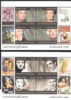 Gibraltar 1995 100 Years Of Cinema - Movie Actor Mi Bloc 23-24 MNH(**) - Gibraltar