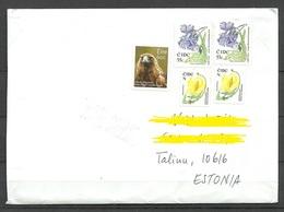 IRLAND IRELAND 2018 Letter To EstoniaFlowers Etc Stamps Remained Uncancelled! - 1949-... Repubblica D'Irlanda
