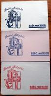 3 Buvards Anciens - CAFES BIEC - 3 Couleurs Différentes -  Cafetière Et Paquet De Café - Café & Thé