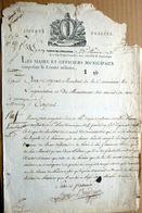 CERTIFICAT DE MISE EN DISPONIBILITE MANUSCRIT PAR LA COMMISSION DU MOUVEMENT DES ARMEES DE TERRE 1795 - Documents