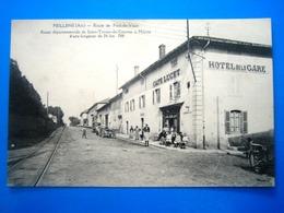 CPA   FEILLENS-ROUTE DE PONT DE VAUX-HOTEL DE LA GARE-CAFE LUCET-ANIMEE - France