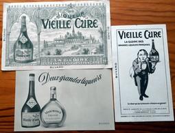 """3 Buvards Anciens Différents - LIQUEUR """"VIEILLE CURE"""" De CENON-BORDEAUX (Gironde) - Lithographie - Liqueur & Bière"""