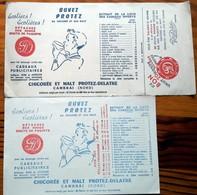 """2 Buvards Anciens Différents - CHICOREE & MALT """"PROTEZ-DELATRE à CAMBRAI (Nord) - SURCHARGE CACHET ROUGE ET COUPON - Coffee & Tea"""
