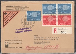 SWITZERLAND 1960 ISSUE F.D.C. EUROPA WITH EXTRA FRANKING. - Suisse