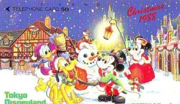 Télécarte Japon / 110-54160 - DISNEY - NOEL 1988 - Mickey Minnie Bonhomme De Neige (6373) CHRISTMAS Japan Phonecard - Disney