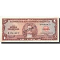 Billet, Dominican Republic, 5 Pesos Oro, 1975, 1975, Specimen, KM:109s, NEUF - Dominicaine