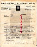 33 - BORDEAUX -  LETTRE ETS. CLAUDE PAZ & SILVA- CLAUDE LUMIERE- TUBES LUMINESCENTS-PUBLICITE ECLAIRAGE-1948 - Electricity & Gas