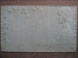 Cpa Litho Illustrateur - Raphael Kirchner (?) - Bas Relief Légèrement Gaufrée - Femme Art Déco Art Nouveau - Kirchner, Raphael