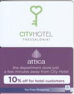 GREECE(chip) - City(reverse Attica), Hotel Keycard(thick Plastic), Used - Hotel Keycards