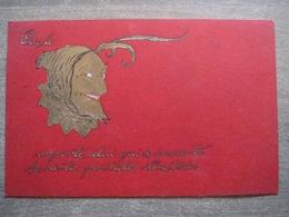 """Cpa Litho Gaufrée """"Que Le Diable Emporte Celui Qui A Inventé Les Cartes Postales Illustrées"""" - Humour Satire - Illustrateurs & Photographes"""