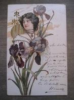 Cpa Litho Art Nouveau - Femme Bijoux Fleurs - Dorures Relief - 1902 - 1900-1949