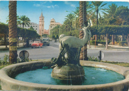 LIBYA -  Tripoli, Piazza Algeria, Old Cars, Auto, VW, , Stamp 1975, Old Postcard - Libya
