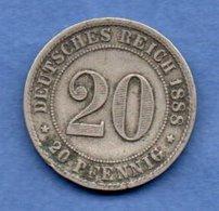 Allemagne  -  20 Pfennig  1888 F --  Km # 9.1  -  état  TB + - [ 2] 1871-1918: Deutsches Kaiserreich