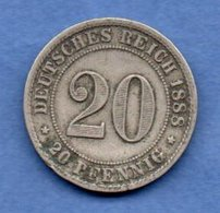 Allemagne  -  20 Pfennig  1888 F --  Km # 9.1  -  état  TB + - [ 2] 1871-1918 : Empire Allemand