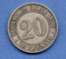 Allemagne  -  20 Pfennig  1890 A --  Km # 13  -  état  TTB  - - [ 2] 1871-1918: Deutsches Kaiserreich