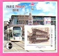BLOC CNEP JUIN 2018 PARIS - PHILEX  TRAMWAYS MODERNE ET ANCIEN TP AUTO ADHESIF LETTRE VERTE 20 Gr - CNEP